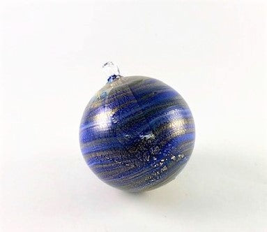 Murano Glass Christmas Ornament Cobalt Blue Swirl Image