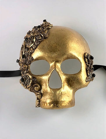 Venetian Skull Mask Skulls and Roses Gold with Black Crystals Image