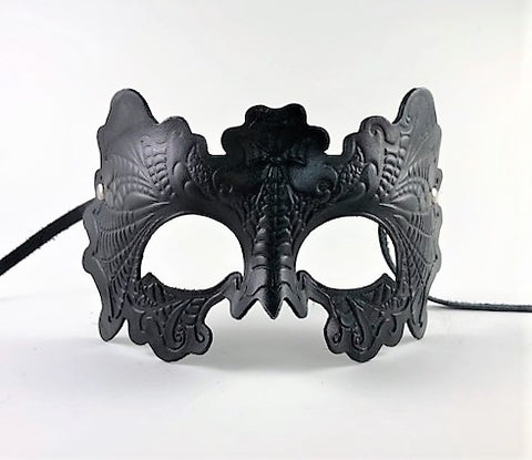 Leather Venetian Gothic Embossed Mask Black Image