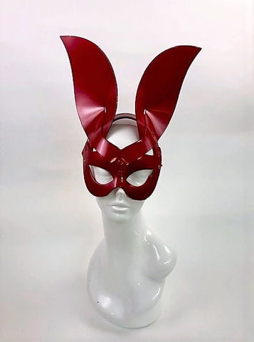 Erotic Mistress Boudoir Bunny Mask Red Leather Image