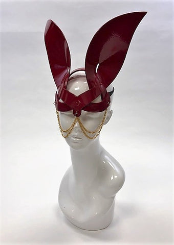 Erotic Mistress Boudoir Bunny Mask– Red Patent Vinyl with Hanging Chain