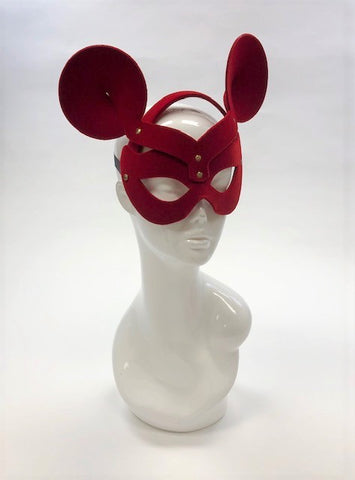 Erotic Mistress Boudoir Mouse Mask Red Velveteen Image