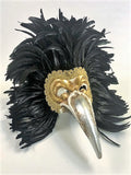 Venetian Feathered Doctor/Piume Uccello Carnevale Mask - Black