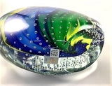 "Murano Glass Vase Gaia 10"" – Blue, Yellow, Green"
