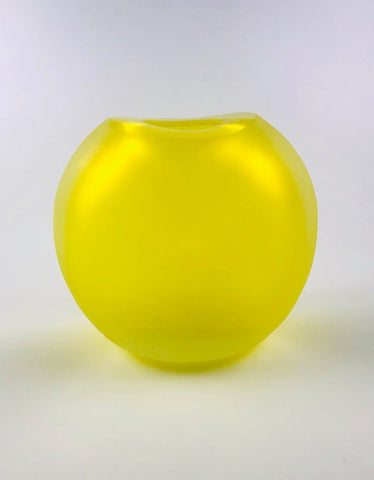 "Murano Glass Vase Nina  Frosted Limoncello Giallo 7 ¼"" Image"