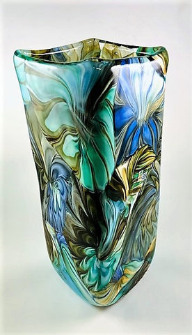 "Murano Glass Vase Pavone Tall 18"" Image"