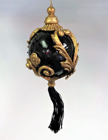 Venetian Christmas Ornament Baroque Black and Gold Image