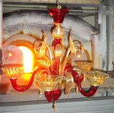 Murano Glass Luy Chandelier Red and Clear 24Kt Gold Accents Image