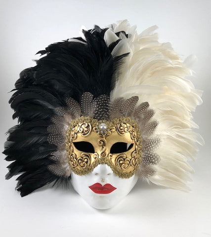 Feathered Volto Carnevale Mask Black White Image
