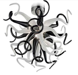 Murano Glass Medusa Chandelier - Black and White