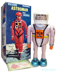 Astroman Robot Osaka Tin Toy White Tin Toy Wind up - SALE!