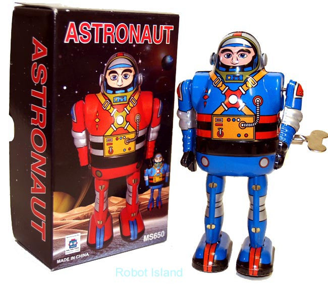 Spaceman Astronaut Robot Windup Tin Toy Blue Robot - SALE!