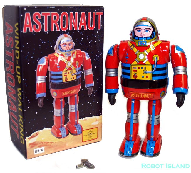 Metal House Astronaut Robot Tin Toy Windup Japan Osaka Tin Toy