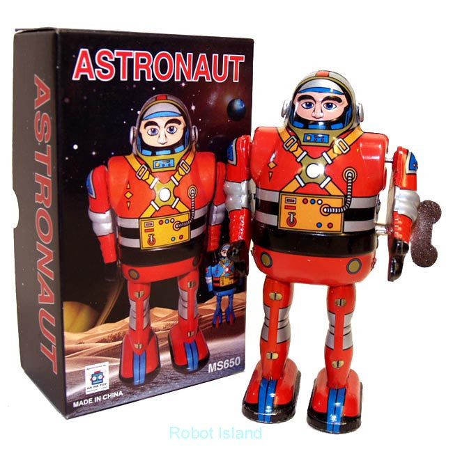 Spaceman Astronaut Robot Windup Tin Toy Red Robot - SALE!