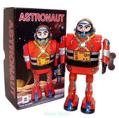 Astronaut Robot Windup Tin Toy Red Robot