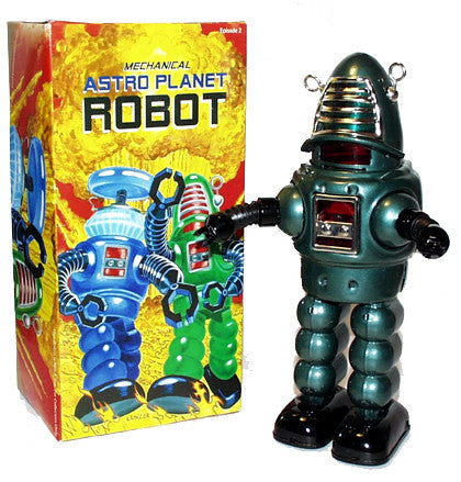 Robby the Robot Tin Toy Windup Astro Planet Edtion with Bendy Arms