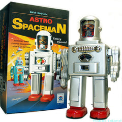 "Astro Spaceman Robot Tin Toy Battery Operated Large 12"" Tall"