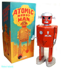 "Atomic Robot Man Tin Toy Windup Giant Red 12"" Tall - St. John Toys - HOLIDAY SALE!"