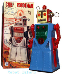 Chief Robotman Robot Blue Tin Toy Battery Operated Robot - New Stock Arriving Soon!