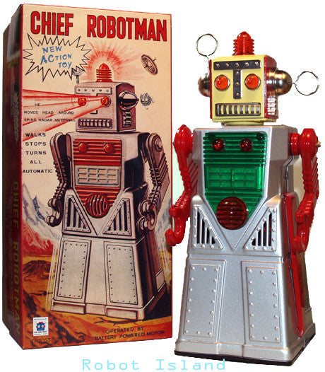 Chief Robotman Robot Tin Toy Battery Operated Silver