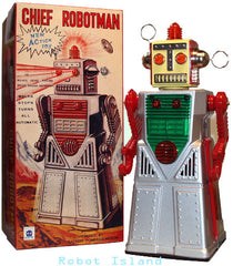 Chief Robotman Robot Tin Toy Battery Operated Silver - New Stock Arriving Soon!