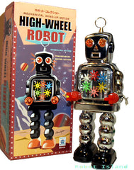 Chrome High Wheel Gear Robot Windup Tin Toy