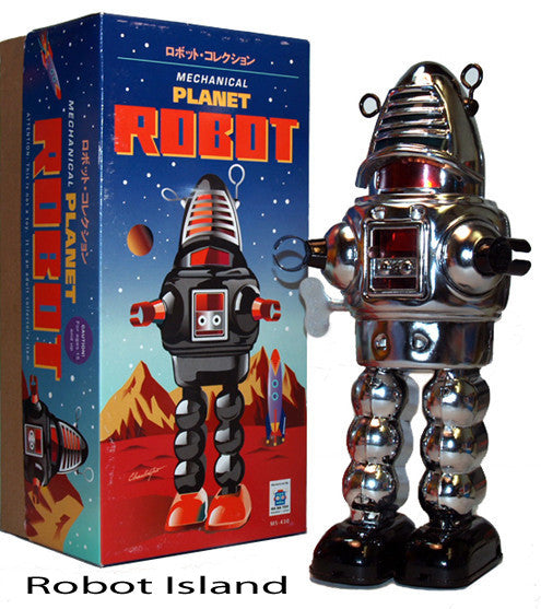 Planet Robot Tin Toy Robby the Robot Wind up Chrome - SUMMER SALE!