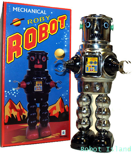 R-35 Robot Tin Toy Windup meets Robby the Robot Chrome