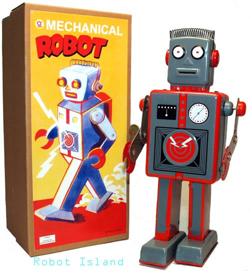 Giant Easelback Robot Windup Tin Toy