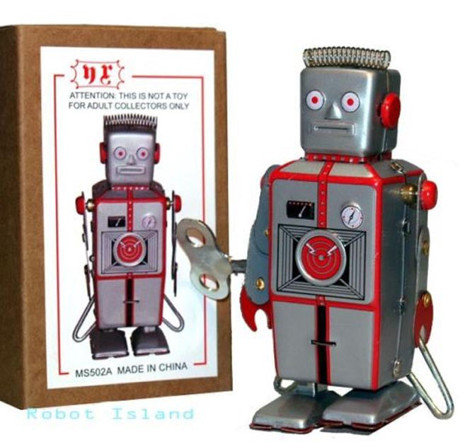 Easelback Robot Windup Tin Toy Mini