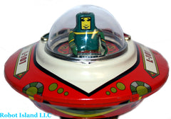 Flying Saucer Space Ship Astronaut Windup crank Tin Toy - Collectors Edition!