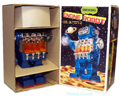 Engine Smoking Piston Robot Horikawa Japan Vintage Battery Operated