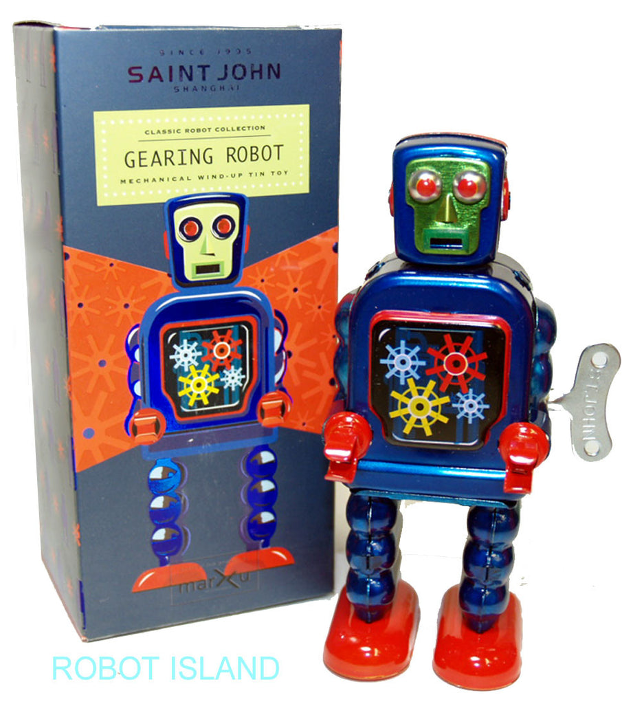 High Wheel Robot Jr. Blue Tin Toy Windup - St. John Toys
