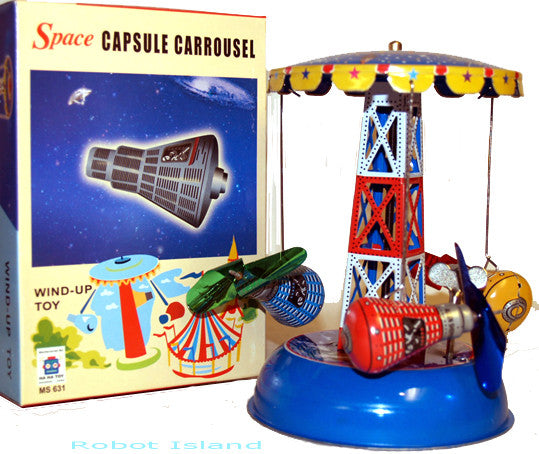 Space Ship Tin Toy Carousel Windup Space Capsule Mercury - SALE!