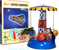 Carousel Space Ship Tin Toy Windup Space Capsule Mercury - SALE!