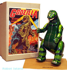 Billiken Godzilla Windup Robot Tin Toy Green
