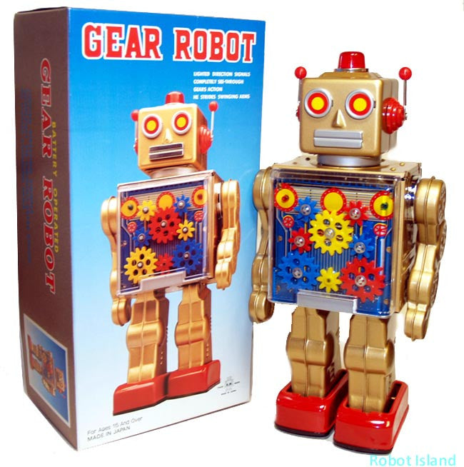 Metal House Japan Gold Gear Robot Tin Toy Battery Operated - SALE!