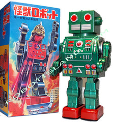 Dino Robot Tin Toy Metal House Japan Green Limited Edition - SOLD!