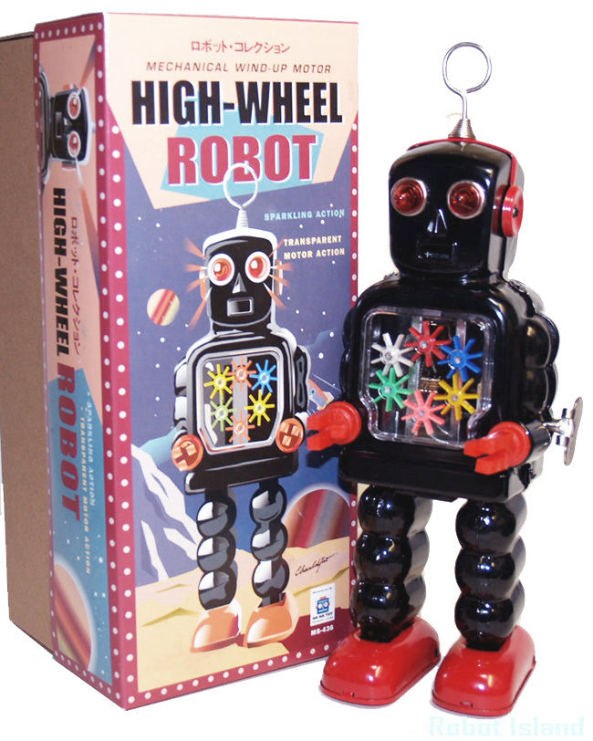 Black High Wheel Gear Robot Tin Toy Windup Black