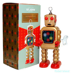 High Wheel Robot Jr. Gold Tin Toy Windup - St. John Toys - SALE!