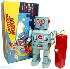 Lantern Robot Tin Toy Smoke Powder Robot Battery Operated - SUMMER SALE!