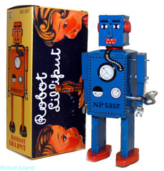 Blue Lilliput Robot Windup Tin Toy Blue