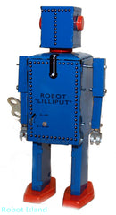 Lilliput Robot Windup Tin Toy Blue - SALE!