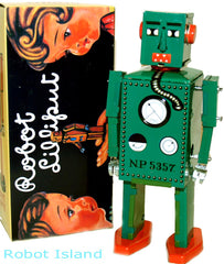 Green Lilliput Robot Tin Toy Windup - Holiday SALE!