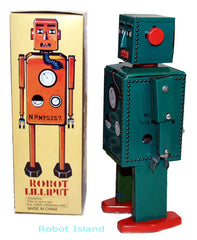 Lilliput Robot Tin Toy Windup Green