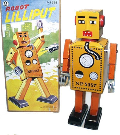 Giant Lilliput Robot Tin Toy Windup