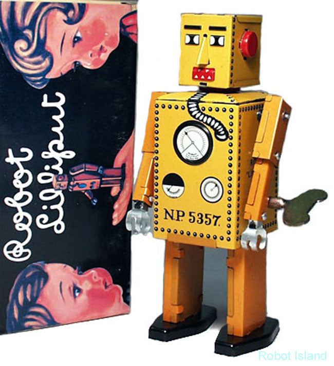 Lilliput Robot Windup Tin Toy Yellow - SALE!