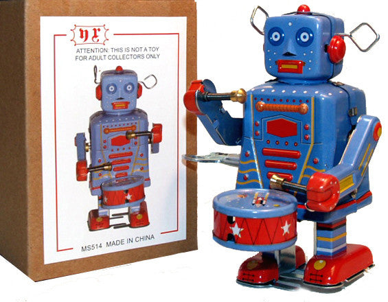 Robot Drummer Windup Tin Toy - SALE!