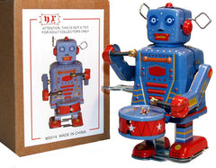 Drummer Robot Windup Tin Toy