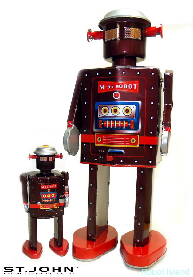 "Giant Atomic Robot Man 12"" Tall - M-65 NASA Tin Toy Windup St. John Toys - SALE!"